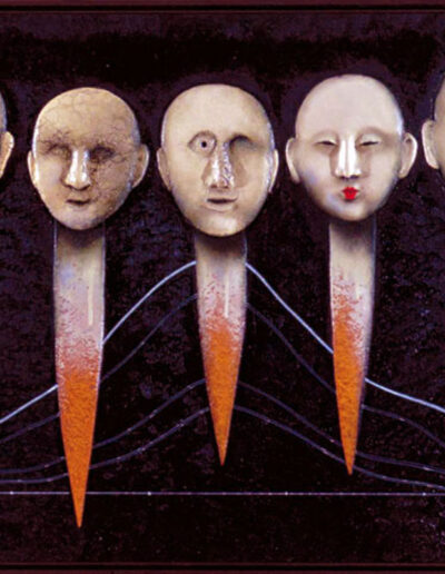 206_Total-Quality-Management-I_80x160_Mixed-media-clay-oil-on-wood,-2001