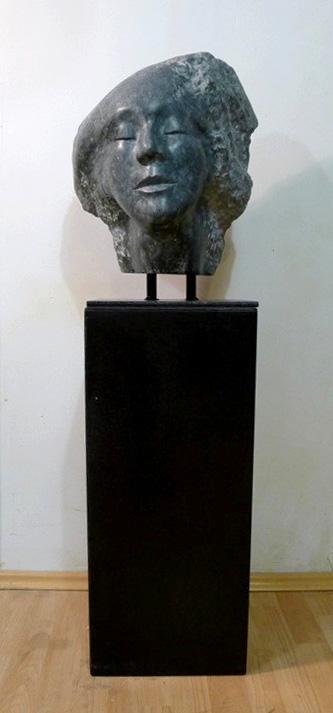 Final sculpture on a stand h 70cm b 30x30 cm