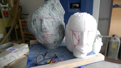 Styrofoam model of the sculpture